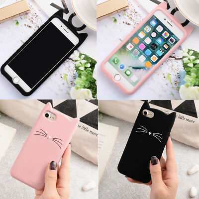 For IPhone X 7 6 Phone Case 3D Cartoon Cat Ear Silicone Soft TPU Phone Cases