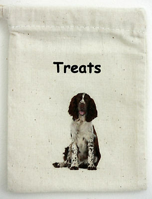 Dog Treat Bag with English Springer Spaniel motif on one side Size 13cm by 10cm