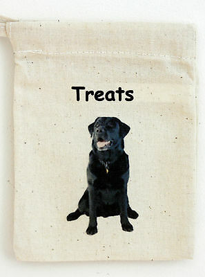 Dog Treat Bag with a Black Labrador motif on one side Size 13cm by 10cm