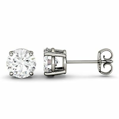 2.00CT Round Cut Diamond Four Prong Solitaire Stud Earrings in 14K White Gold FN