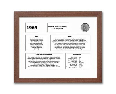 Personalised 50th Anniversary Framed Souvenir of 1969 Gift Set (2019)