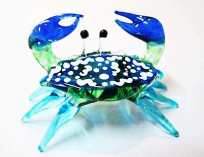 Handcrafted MINIATURE HAND BLOWN GLASS Small Blue Crab FIGURINE Collection