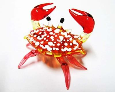 Handcrafted MINIATURE HAND BLOWN GLASS Small Red Crab FIGURINE Collection