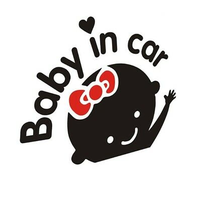 """1pc """"Baby In Car"""" Cute Waving Baby on Board Safety Sign Car Decal Vinyl Sticker"""