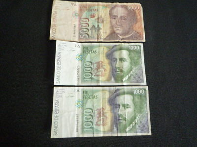 SPAIN BANKNOTE COLLECTION 2x1000(1992) 1x500(1992) PESETAS BANKNOTES
