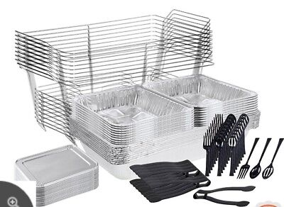 Tiger Chef 72-Piece Catering Set Serving Dishes for Parties Includes Chafer Pans