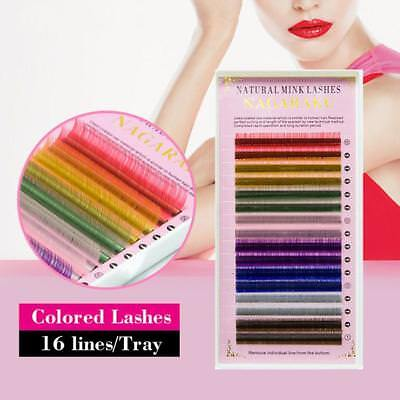 Individual Multi-Colored Eyelash Extensions Rainbow Color Lashes 8-12mm aus~