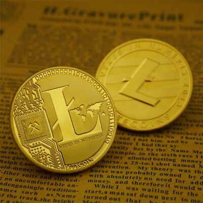 Hot Sale!Gold Plated Commemorative Litecoin Collectible Iron Miner Coin 1PC