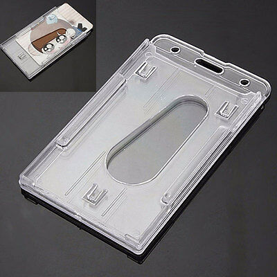 2x Vertical Hard Plastic ID Badge Holders Double Cards Multi Transparent Clear;