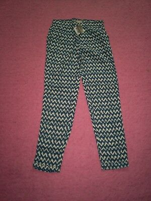 "Girls ""Next"" Blue/Cream Zig Zag Print Cotton Trousers for Age 9 years BNWT"
