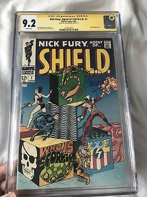 NICK FURY, AGENT OF SHIELD #1 CGC 9.2 SS White  Steranko cover + signature 1968