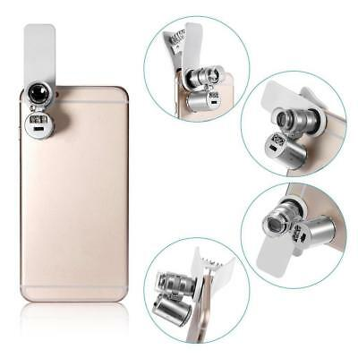 60X Optical LED Clip Zoom Cell Phone Camera Magnifier Microscope Micro Lens~