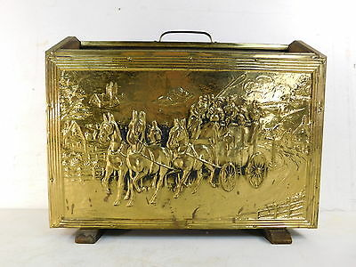 Vintage Embossed Old English Riding Scene Brass Magazine Rack Record Caddy
