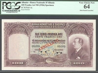 Albania, 100 Franka Ari, ND(1926), P4s, Specimen, Choice Uncirculated, PCGS 64