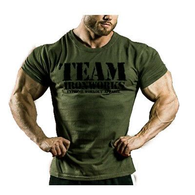 Mens Vintage Military Green Cotton  Bodybuilding T-Shirt Gym Clothing Top Gasp