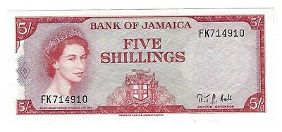 1964 Jamaica 5 Shillings, Crisp and Original EF, P-51Ac, 2nd Signature New Title
