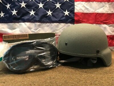 U.S. Military Advanced Combat Helmet (ACH) with Pads, Chin Strap,Goggles NEW!!!!