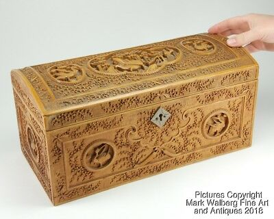 Chinese Export Carved Wood Box / Chest, Cranes, Farming Scene, 19th Century