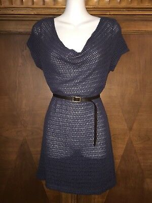 Maternity M Medium A Pea In The Pod Open Knit Blue Shirt Blouse Top Tunic Belt