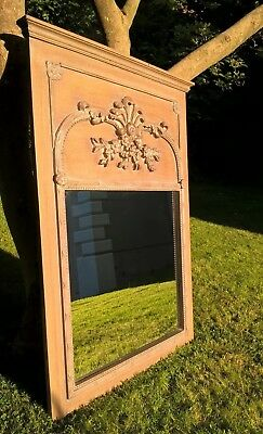 Large antique French rococo Trumeau / Pier mirror 4 ft x 3ft Regency style