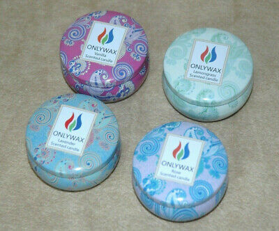 ONLYWAX SCENTED CANDLES 4 Pack w/ Decorative Tins Vanilla, Lemon, Rose, Lavender