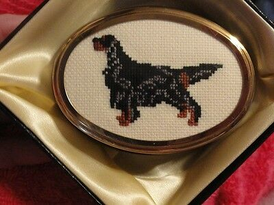 Gordon Setter Small Porcelain Trinket Box with Cross Stitched Insert