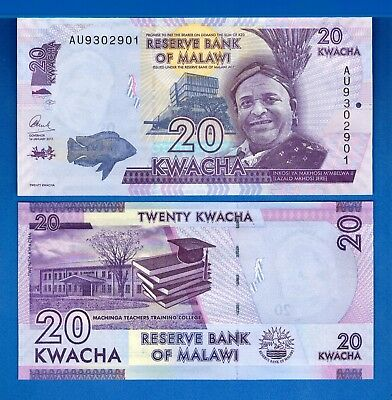 Malawi P-New 20 Kwacha Year 2015 Uncirculated Banknotes Africa