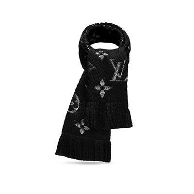 LOUIS VUITTON BLACK SILVER WOOL SILK thick LOGOMANIA scarf shawl