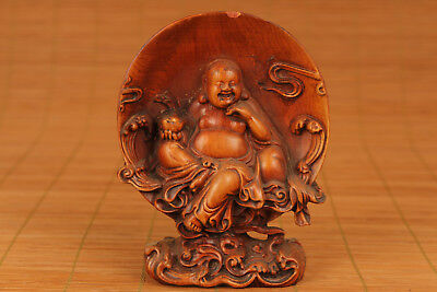 chinese old Boxwood Hand Carved Moon Buddha Statue Figure
