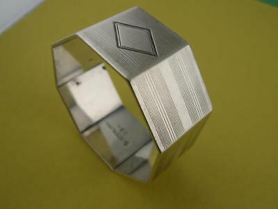 Sterling WATROUS Napkin Ring ~ Octagon Shape w/ engraved line patterns ~no mono