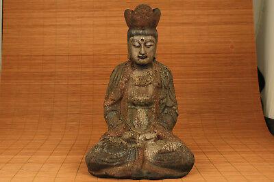 Antique Rare Big chinese old Wood Hand Carved buddha Kwan-yin Statue Figure