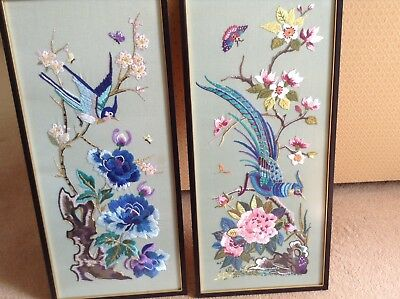 PAIR of BEAUTIFUL ORIENTAL DESIGN SILK EMBROIDERY PANELS in FRAMES