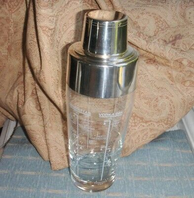 Old Vintage Grenadier England Silver Plated Glass Cocktail Shaker Art Deco Style