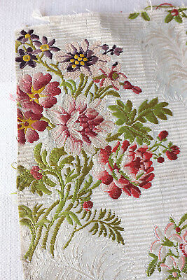 Antique fragment 18th century  lampas corded silk from France