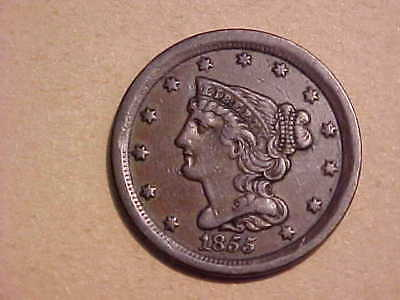 1855 Half Cent Cent original near uncirculated **FREE US ShIP**