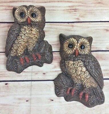 TWO Owls Vintage 70's Foam Resin Wall Hanging Art Retro Decor FUNKY KITSCH