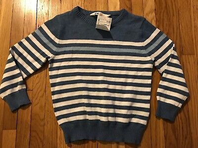 NWT Toddler Boys 2-4Y H&M Blues Striped V-Neck Sweater