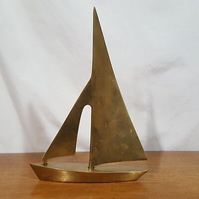 Vtg Solid Brass Sailboat Sailing Ship Paperweight Figurine Nautical Decor 10""