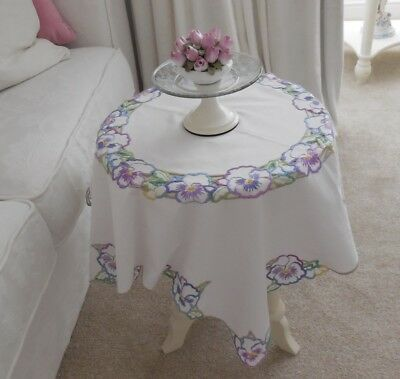 Very Pretty Vintage Cream Cotton Hand Embroidered Pansy Flower Tablecloth