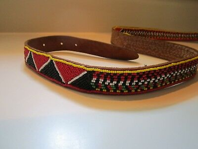 """Masai African Hand Glass Beaded Leather Belt Colorful Kenya Africa 41"""" to 45"""""""