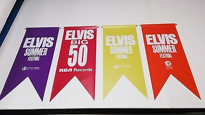 ELVIS VEGAS LOT of 4 Banners Pennants Signs International Hotel RCA MGM FLAG