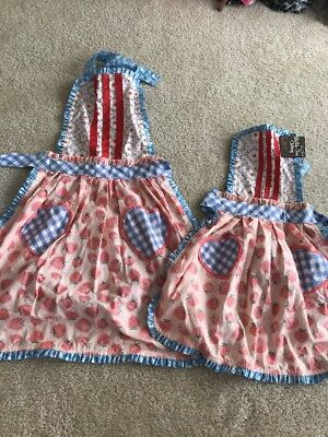 NWT Girls Matilda Jane CAMP MJC Hearts & Crafts Mommy and Me Apron Set! One Size