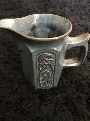 "TYN LLAN Welsh Vintage Studio Pottery Celtic Design Milk/Cream Jug 4""inches High"