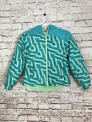 Slalom Girls Puffer Insulated Jacket Teal Green Size Small 6/7  Hooded