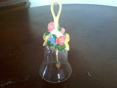 1989 Avon Source of Fine Collectibles Resin and Glass Floral Bell