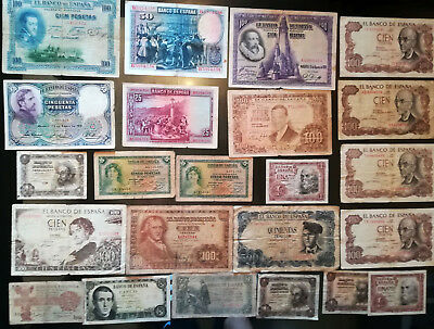 1925 - 1970 Spain Collection Lot 23 Vintage Old Banknotes Paper Money Currency