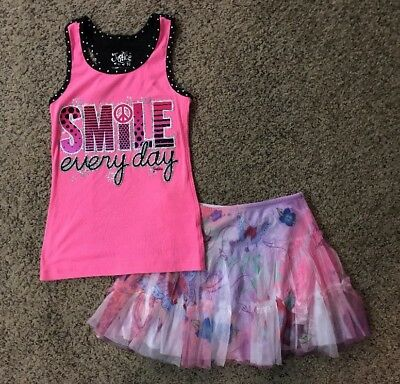 Girls Justice Skirt And Pink Tank Top Sz 10 Gently Used