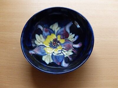 Small Moorcroft Dark Blue footed bowl with Yellow flower Late Queen Mary Label