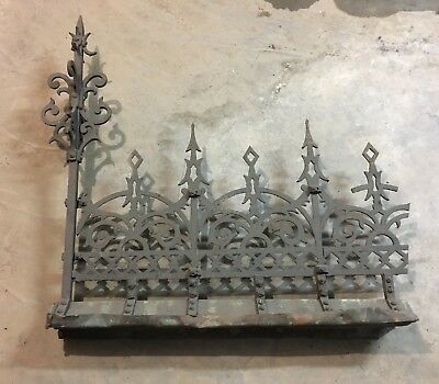 Antique Decorative Iron Roof Ridge Cresting or Garden Fencing with Finials.