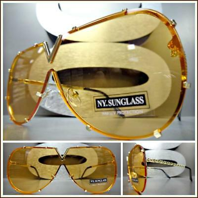 dffade0747 VINTAGE RETRO SHIELD Style Party Rave Club DJ SUN GLASSES Gold Frame Orange  Lens